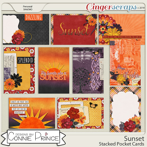 Sunset - Stacked Pocket Cards by Connie Prince