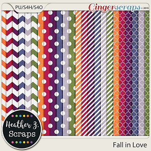 Fall in Love EXTRA PAPERS by Heather Z Scraps