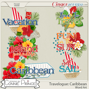 Travelogue Caribbean - Word Art Pack by Connie Prince