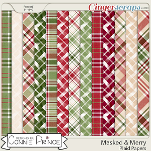 Masked & Merry - Plaid Papers by Connie Prince