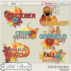 #2018 October - Word Art Pack by Connie Prince