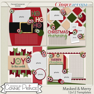 Masked & Merry - 12x12 Templates (CU Ok) by Connie Prince