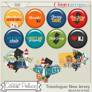 Travelogue New Jersey - Word Art & Flair Pack by Connie Prince