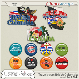 Travelogue British Columbia Canada - Word Art & Flair Pack by Connie Prince