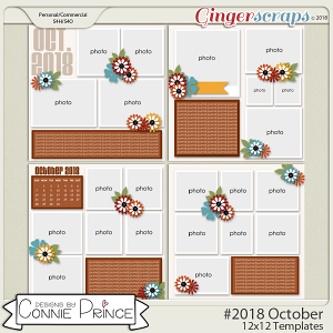 #2018 October - 12x12 Template Pack (CU Ok) by Connie Prince