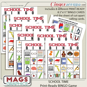 School Time BINGO Game by MagsGraphics