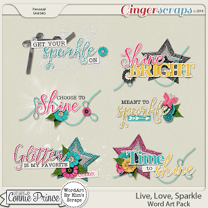 Live, Love, Sparkle - WordArt Pack