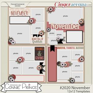 #2020 November - 12x12 Template Pack (CU Ok) by Connie Prince