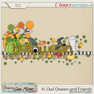 H. Owl Oween and Friends Word Art from Designs by Lisa Minor