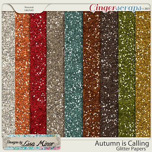 Autumn is Calling Glitter Papers from Designs by Lisa Minor