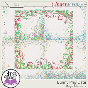 Bunny Play Date Page Borders by ADB Designs