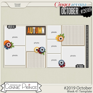 #2019 October - Week 41 Template Pack (CU Ok) by Connie Prince