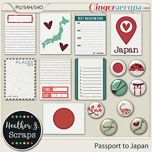 Passport to Japan JOURNAL CARDS & FLAIRS by Heather Z Scraps