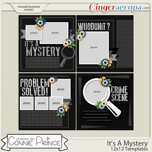 It's A Mystery - 12x12 Templates (CU Ok) by Connie Prince