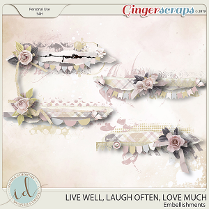 Live Well, Laugh Often, Love Much Embellishments by Ilonka's Designs