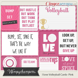 I Love Volleyball Cards-Pink
