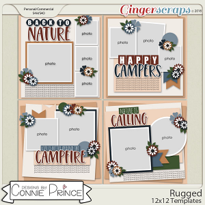 Rugged - 12x12 Templates (CU Ok) by Connie Prince