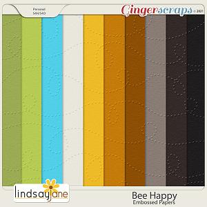 Bee Happy Embossed Papers by Lindsay Jane