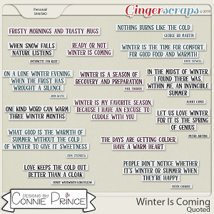 Winter Is Coming - Quoted by Connie Prince