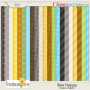 Bee Happy Pattern Papers by Lindsay Jane