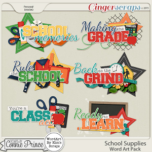 School Supplies - WordArt Pack