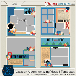 Vacation Album: Amazing Vistas 3 Templates by Miss Fish
