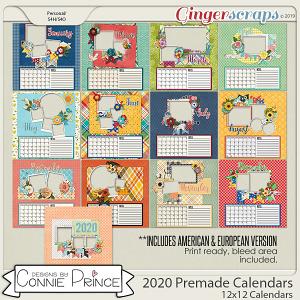 2020 12x12 PreMade Calendars by Connie Prince