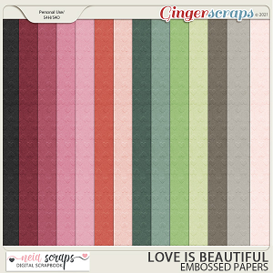 Love is Beautiful - Embossed Papers - by Neia Scraps