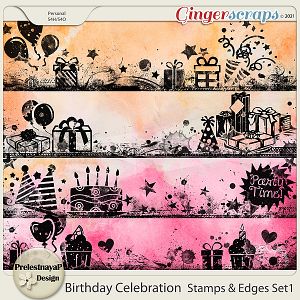 Birthday Celebration Stamps & Edges Set1