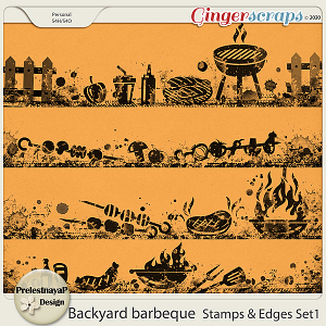 Backyard barbeque Stamps & Edges Set1