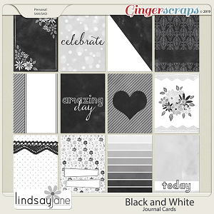Black and White Journal Cards by Lindsay Jane