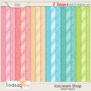 Icecream Shop Glitter Papers by Lindsay Jane