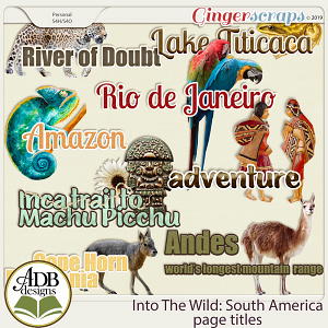 Into The Wild South America Word Art by ADB Designs