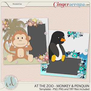 At The Zoo Monkey & Penquin Templates by Ilonka's Designs