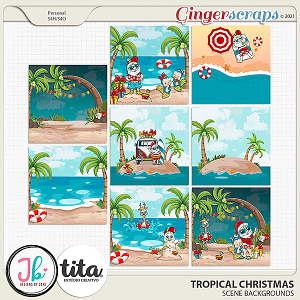 Tropical Christmas Scene Backgrounds by JB Studio and Tita