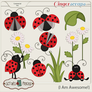 I Am Awesome Ladybug CU Layered Templates - Scraps N Pieces