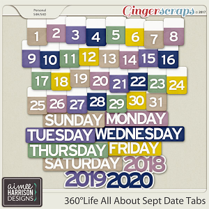 360°Life All About September Date Tabs by Aimee Harrison