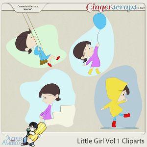 Doodles By Americo: Little Girl Vol 1 Cliparts