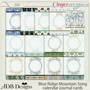 Blue Ridge Mountain Song Calendar Journal Cards by ADB Designs