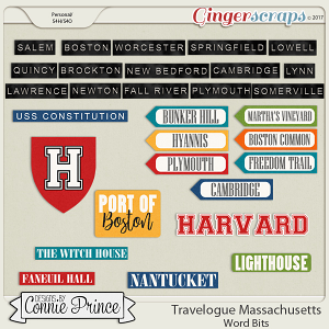 Travelogue Massachusetts - Word Bits