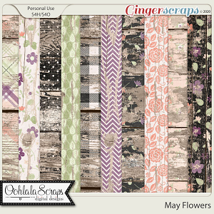 May Flowers Worn Wood Papers