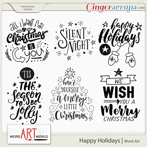 Happy Holidays Word Art