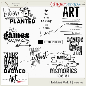 Hobbies Vol. 1 Word Art