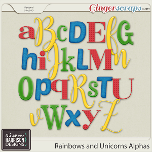 Rainbows and Unicorns Alpha Sets by Aimee Harrison