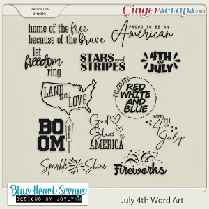 July 4th Word Art Pack