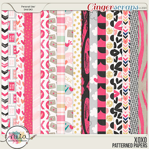 XOXO - Patterned Papers - by Neia Scraps