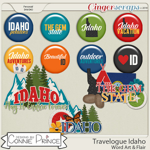 Travelogue Idaho - Word Art & Flair Pack by Connie Prince