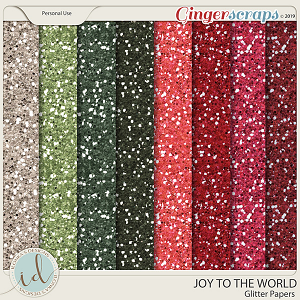 Joy To The World Glitter Papers by Ilonka's Designs