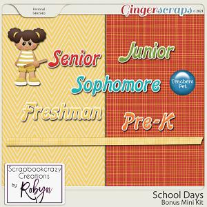 School Days Bonus Mini Kit by Scrapbookcrazy Creations