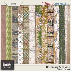 Rosemary and Thyme Wood Papers by Aimee Harrison